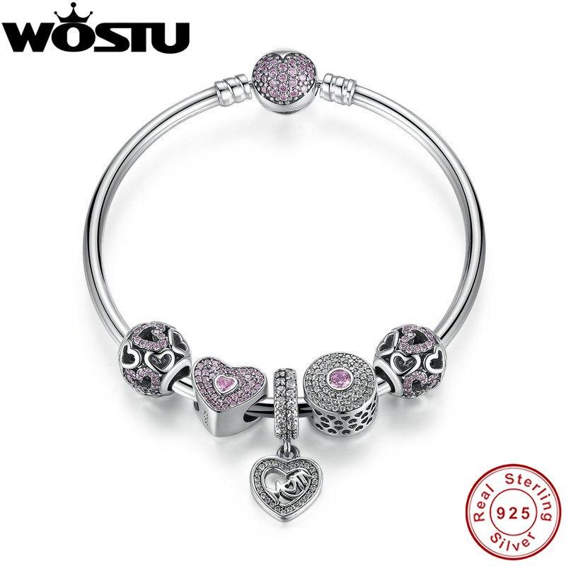 Offre spéciale 100% 925 bracelets en argent Sterling et Bracelet avec perles de breloques maman chérie Fit cadeau de bijoux Original