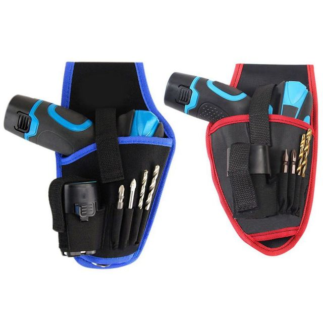 New Arrival Portable Drill Holder Cordless Tool Waist Belt Bag Red Blue Electric