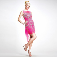 Vestidos de coctel 2017 pink crystal vaina vestidos de coctel cortos con crystal rhinestone partido prom dress cpd020