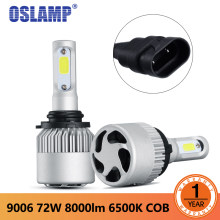 Oslamp S2 Led Headlight 9006 LED COB Chips Car Headlights Single Beam Bulbs 8000LM 6500K 12v 24v Led Auto Headlamp(China)