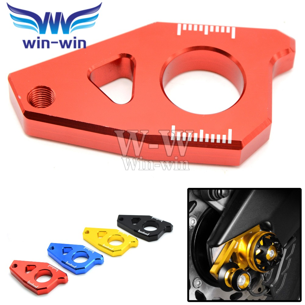 Motorcycle T-MAX 530 CNC Aluminum Rear Axle Spindle Chain Adjuster Blocks Fit for Yamaha TMAX 500 FZ8 FZ1 YZF R1 2012-2015