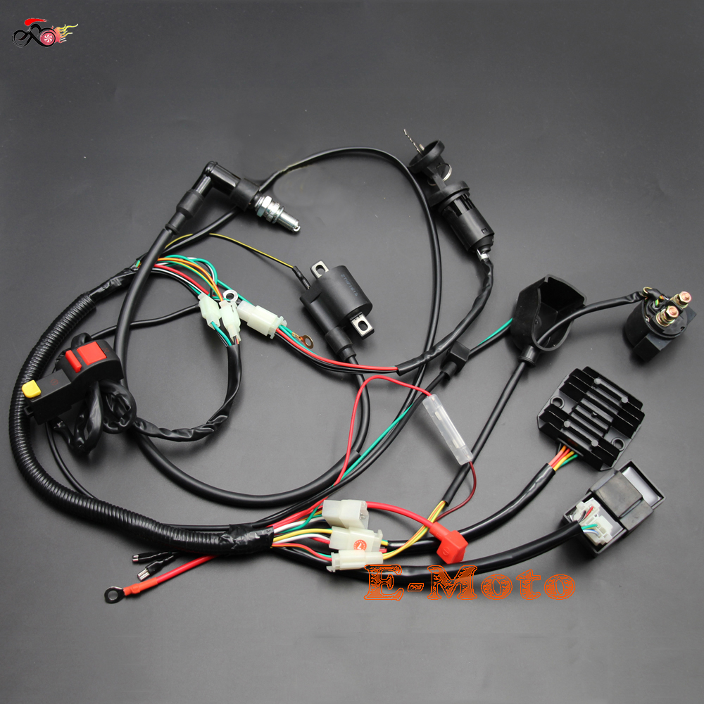Complete Electrics Wiring Harness D8EA Spark Plug CDI Ignition Coil Kits for Chinese Dirt Bike 150cc
