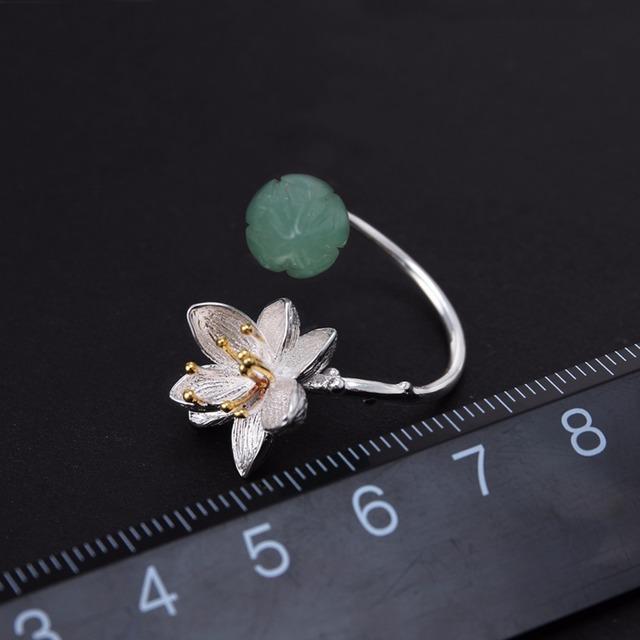 Strieborný prsteň KVET & AVANTURÍN HANDMADE Silver Ring FLOWER AVENTURINE