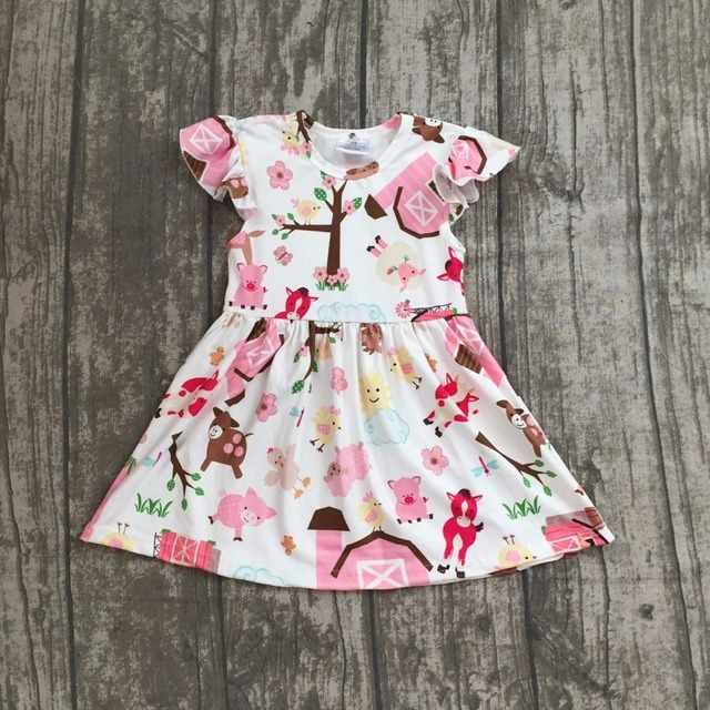 f41ce99135 2018 Summer dress baby girls dress farm girl dress short sleeves animal  print girls clothing boutique 2t to 8t available