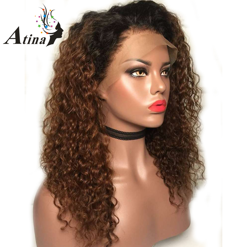 13X6 Deep Part Curly 1B27 Colored Wigs Honey Blonde Ombre Human Hair Wig Lace Front Brazilian Wig 130% Density Remy PrePlucked