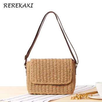 879ce34ac062 REREKAXI ручной в богемном стиле женская Соломенная Сумка летние пляжные  сумки сумка женская сумка обтянутый сумки через плечо переноска