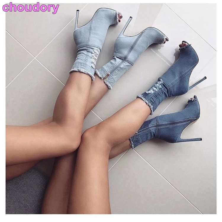 Newest Hot Selling Blue White Black Wash Jeans Booties Stiletto Heels Open Toe Retro Style Charming Denim Mid-calf Cut-out Boots lynrc rc car 4wd rock crawlers hb180b 4x4 bigfoot double motors off road vehicle use aa battery page 9
