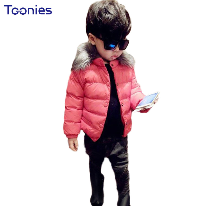 Winter Down Jackets Girls and Boys Coat Fur Collar Toddler 2017 Hot Sale Child Outwear Jacket Hooded Children's Trench Coats Kid недорого