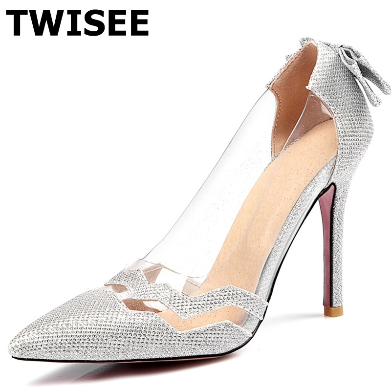 TWISEE  Fashion Butterfly-knot Women Summer Pumps Sexy Ladies red bottom Thin high heels Shoes Transparent Splice Pointed Shoes enmayda platform pumps ladies sexy high heels fashion red bottom women pumps pointed toe slingback thin heels women dress shoes