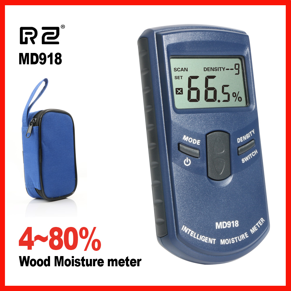 RZ High Precision Inductive Wood Timber Moisture Meter Hygrometer Digital Electrical Tester Measuring tool MD918 digital inductive moisture meter for measuring wood mud ground range 0 100