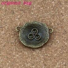 Charms Bird nest Connector 50Pcs/ lots 22.2x30mm Antique bronze Alloy ewelry Fit Handmade Bracelets F-58