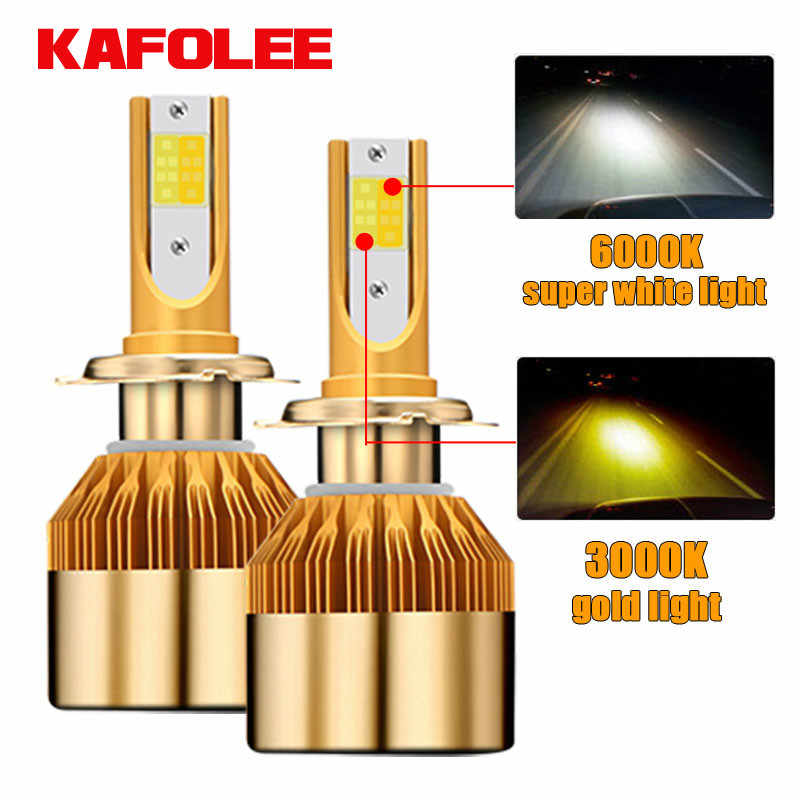 H7 LED H1 H3 H11 9005 9006 HB4 96W 9600lm Car Headlights Front Fog Light Bulb Automobiles Headlamp Double color headlight