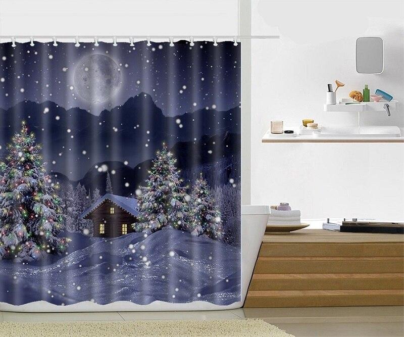 online shop custom x 72 inch christmas shower curtain snowman rideau de douche santa claus polyester fabric bath curtains with hooks aliexpress
