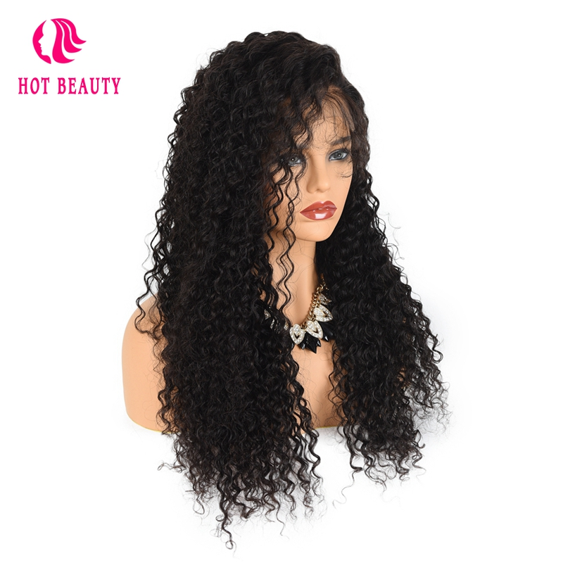 Hot Beauty Hair 150 Density Brazilian Deep Curly Front Lace Wigs With Baby Hair Pre Plucked