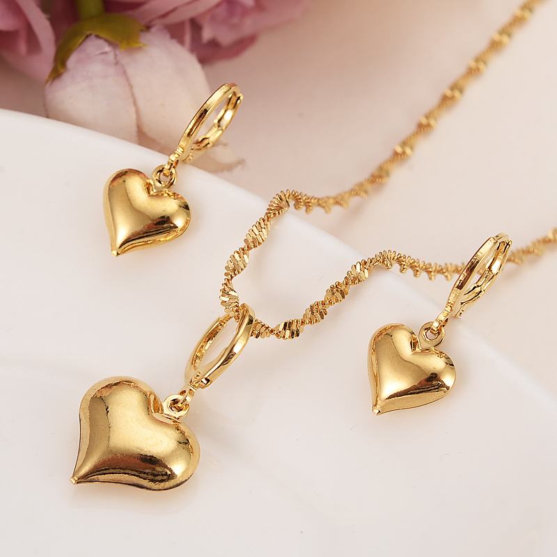 Gold dubai india heart African jewelry Set Necklace pendant Earrings Ethiopia wedding bridl jewelry sets for women girl gifts