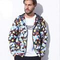 2016 chaqueta de Moda abrigos hombres chaqueta con capucha causal hombres de impresión delgada windbreaker zipper abrigos outwear a prueba de viento cazadora con capucha