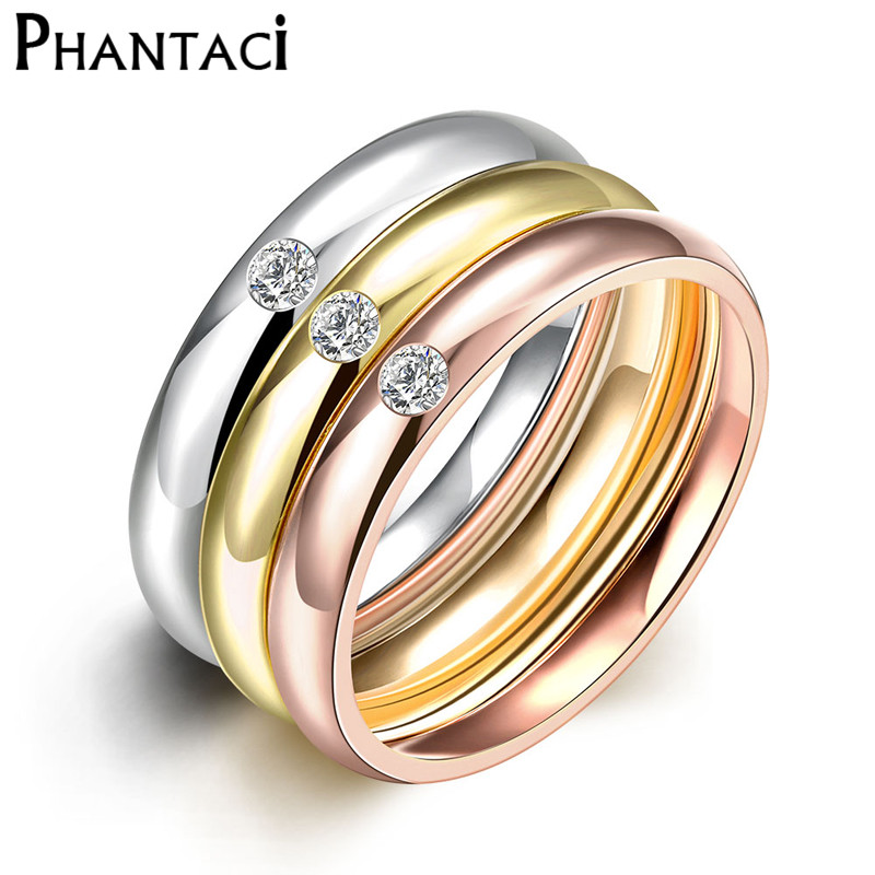3 pcs / set zircon 316l stainless steel wedding rings untuk wanita warna emas kristal titanium engagement rings wanita 2018