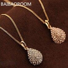 Высокое качество, модное женское ювелирное изделие, ожерелье с подвеской, кристалл, золотой цвет, подвеска в виде капли воды, ожерелье