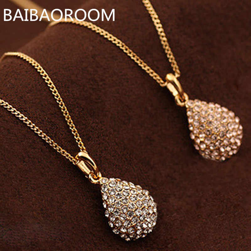 High Quality Fashion Bijoux Women Jewelry Necklaces Pendants Crystal Gold-color Water Drop Pendant Necklace