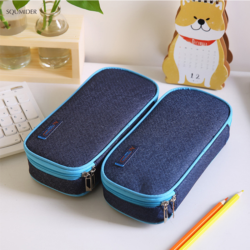 Creative Canvas Pencil Case Large Storage Pen Bag Simple Style Zipper Pencil Bag For Boys&Girls School Stationery Supplies