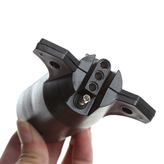 7 Way Round To 4 Pin Flat Blade Trailer Connector Plug Light Adapter Rv Boat