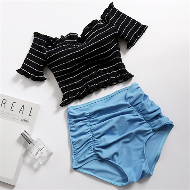 Women's Swimwear Striped Sexy Swimsuit Off Shoulder Two Pieces 2018 Hot Ruffles Short Sleeve Push Up Padded High Waist Bikini blue sexy off shoulder stripe pattern playsuit with stretch waist