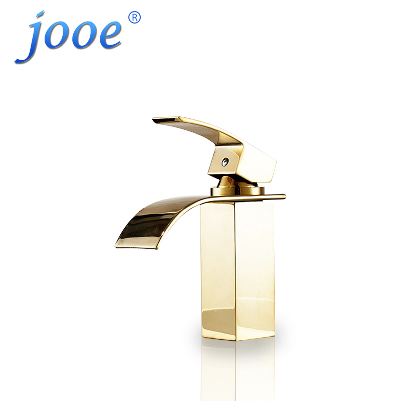 jooe Solid Brass Basin Faucet Single Handle Hot&Cold Water Tap Wash Chrome Waterfall Bathroom Sink Mixer Taps With Hose Torneira brushed nickel led light bathroom waterfall basin sink mixer taps dual handle basin faucet with hot cold water