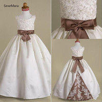 Real Pictures New Flower Girls Dresses Brown Bow Sash Beads Sequins Lace Floor Length Girls' Birthday Party Gown