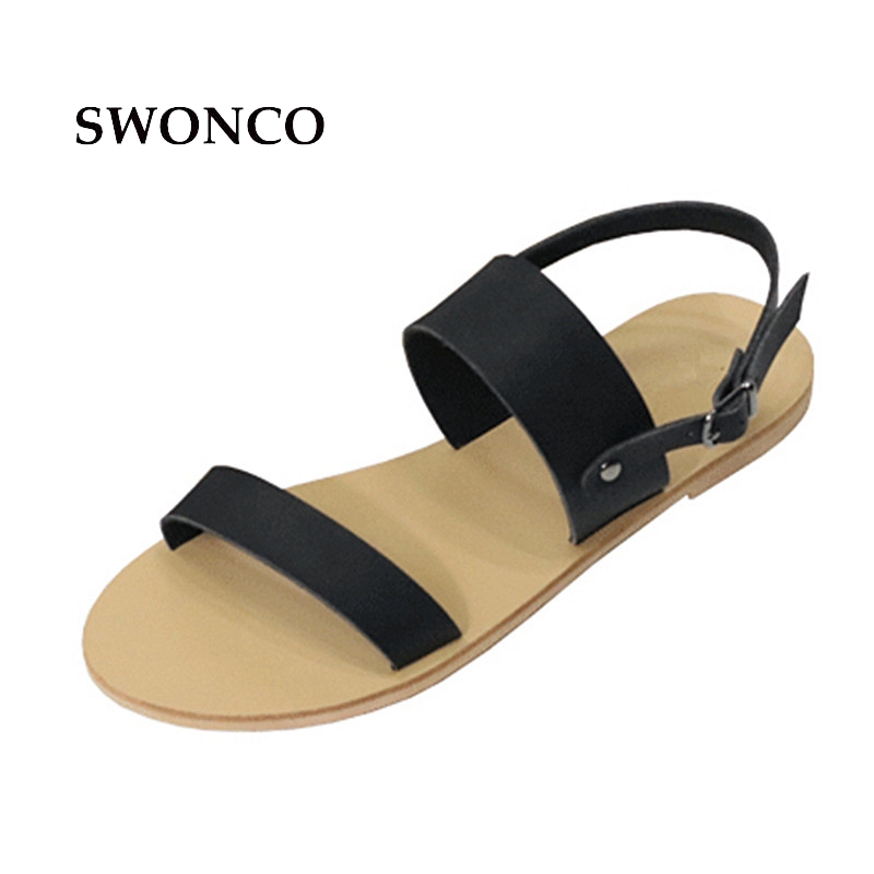 SWONCO Women's Sandals 2018 Summer Casual Girl Beach Shoes Leather Sandals Women Flat Open Toe Solid Color Woman Shoes free shipping candy color women garden shoes breathable women beach shoes hsa21