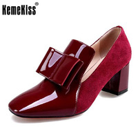 KemeKiss Size 33 43 Vintage Women Genuine Leather High Heel Shoes Women Bowknot Patent Leather Thick