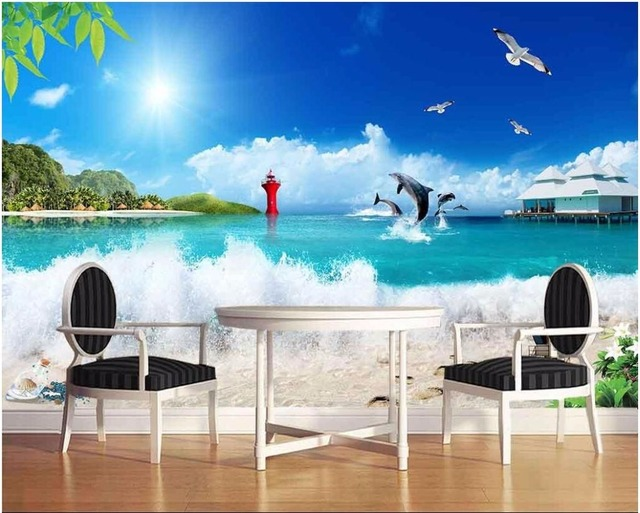 D custom behang foto muurschildering seaside golven blauwe hemel