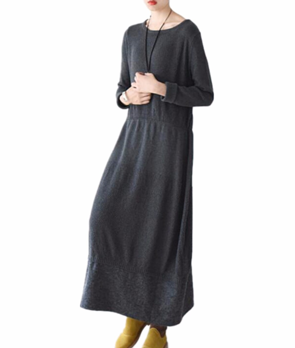 Yesno JY0 Women Long Elegant Fitted Sweater Dress Knitted Dress Wool Hem Stitching Crew Nick Long Sleeve crew neck tribal fitted sweater dress