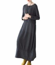Yesno JY0 Women Long Elegant Fitted Sweater Dress Knitted Dress Wool Hem Stitching Crew Nick Long