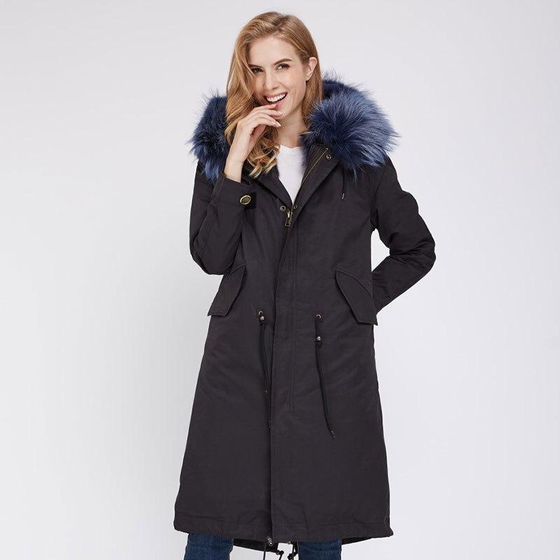 Aiyangsilan длинные натуральным мехом парка пальто парка с мехом модные; женские; теплые рукавом натуральный мех енота парка пальто однотонные я...