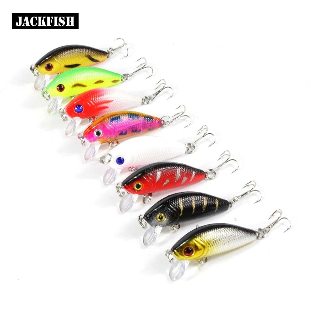 JACKFISH Duro señuelos de pesca Minnow señuelo de la pesca 3D eyes 8 unids/lote