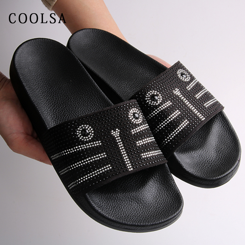 f92888880 COOLSA Hot Summer Women Slippers Rhinestone Bling Slides Flat Soft Home Flip  Flops Female Sparkling Crystal Shoes Beach Sandals-in Slippers from Shoes  on ...