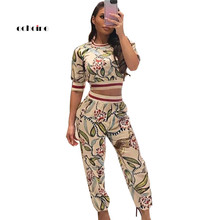 Echoine Fashion Women Two Piece Set Letter Print Half Sleeve O-Neck Sexy Crop TopLong Pants Slim Casual Suits Sportswear Outfit half sleeves letter print crop top