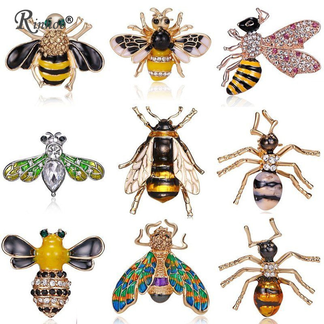 15cc2ca8f14 Rinhoo Fashion Charm Honeybee Crystal Pearl Enamel Insect Bee Brooch Pin  Costume Jewelry Brooches Pins For Women Girls