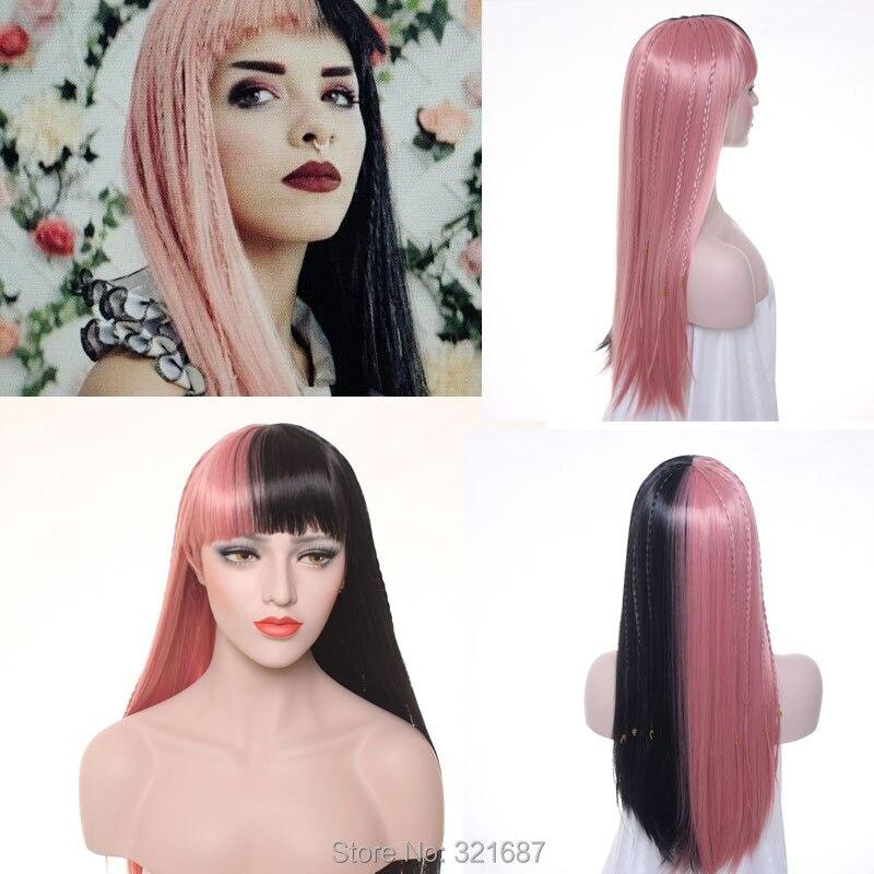 Melanie Martinez COSPLAY Half Purple Half Pink Wig Long Straight Women Wigs