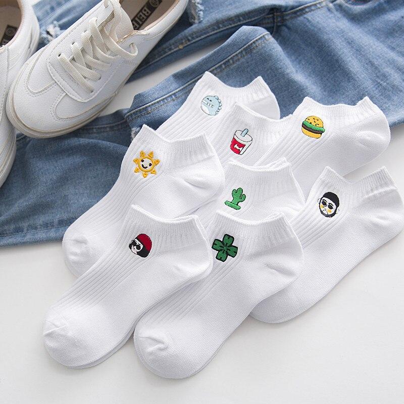 Man White Harajuku Socks Unisex Summer Short Socks Hipster Skateboard Funny Ankle Socks Embroidery Coke Killer Cactus Monster Underwear & Sleepwears
