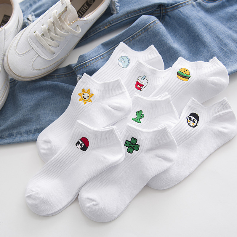 New Spring Summer Korean Harajuku Funny Cartoon White Short Sock Novelty Women Milk Sun Monster Embroidery Cotton Female Socks