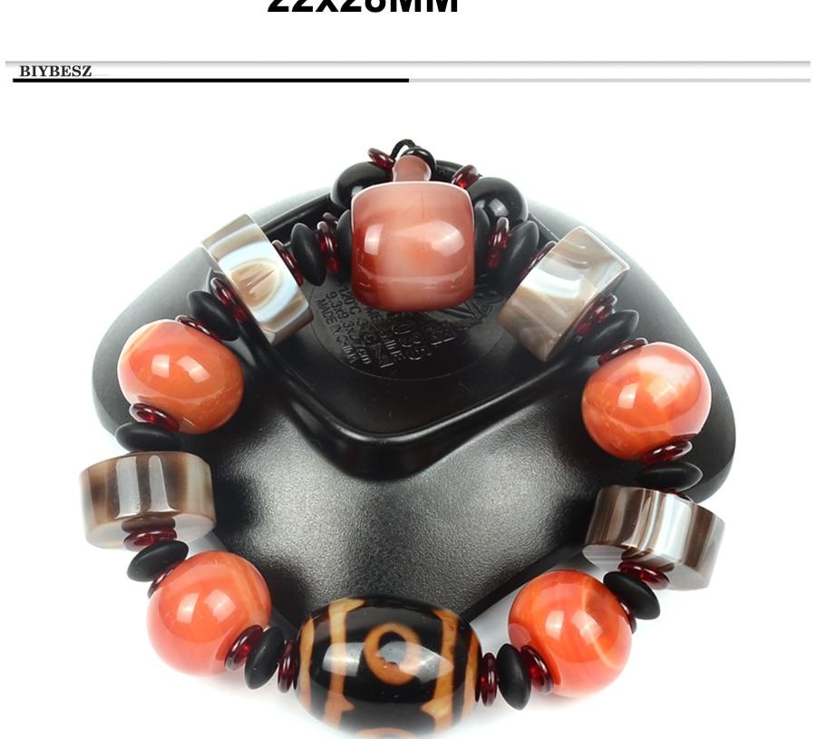 Men\`s Bracelets Big Stone Natural Stone Bracelet Charm Tibetan Beads Men Wrist Dzi Elastic Jewelry Gifts Lucky gemstonee Daily (4)
