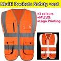 Nova construção de alta visibilidade fluorescente orange clothing segurança colete refletivo colete de segurança de trabalho empresa de impressão do logotipo