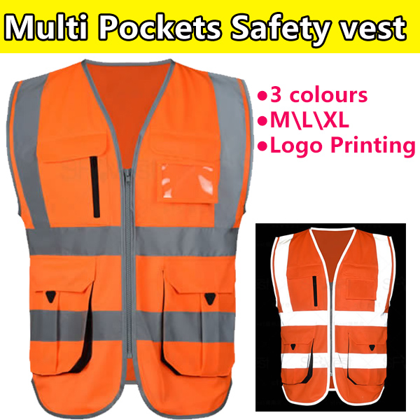 SFvest Orange Safety Vest Work Clothing Safety Reflective Vest Construction High Visibility Workwear Logo Printing