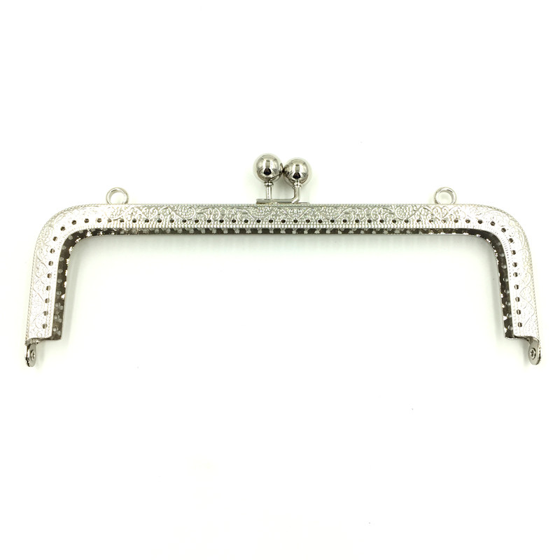 10Pcs Silver Tone Metal Rectangle Frame Kiss Clasps Lock Clutch DIY Handbag Handle Making 20x9cm in Bag Parts Accessories from Luggage Bags