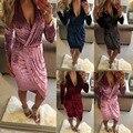 2017 Весной Платье Случайный Сексуальный Slim V-образным Вырезом бархатное Платье Розовый Красный Черный Асимметричный Платье Женщины Нерегулярные Платья Партии Vestidos