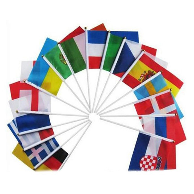 Hand Flags of the country world With Poles Word Cup 32 Countries Small bandeira Team banderas for Football Club soccer Fans