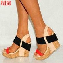 PADEGAO+women sandals wedges high heels elegant decorative  lady shoes sandals wedding plus size  waterproof  multi color