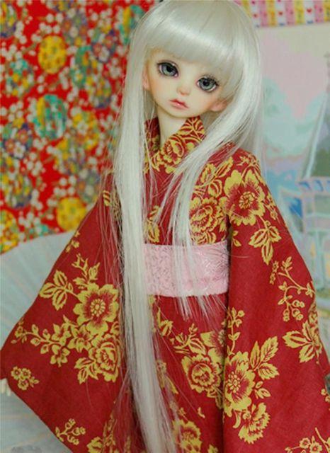 [wamami] Kimono Red Bathrobes Clothing Coat Green Belt  1/4 MSD DOLL BJD Dollfie