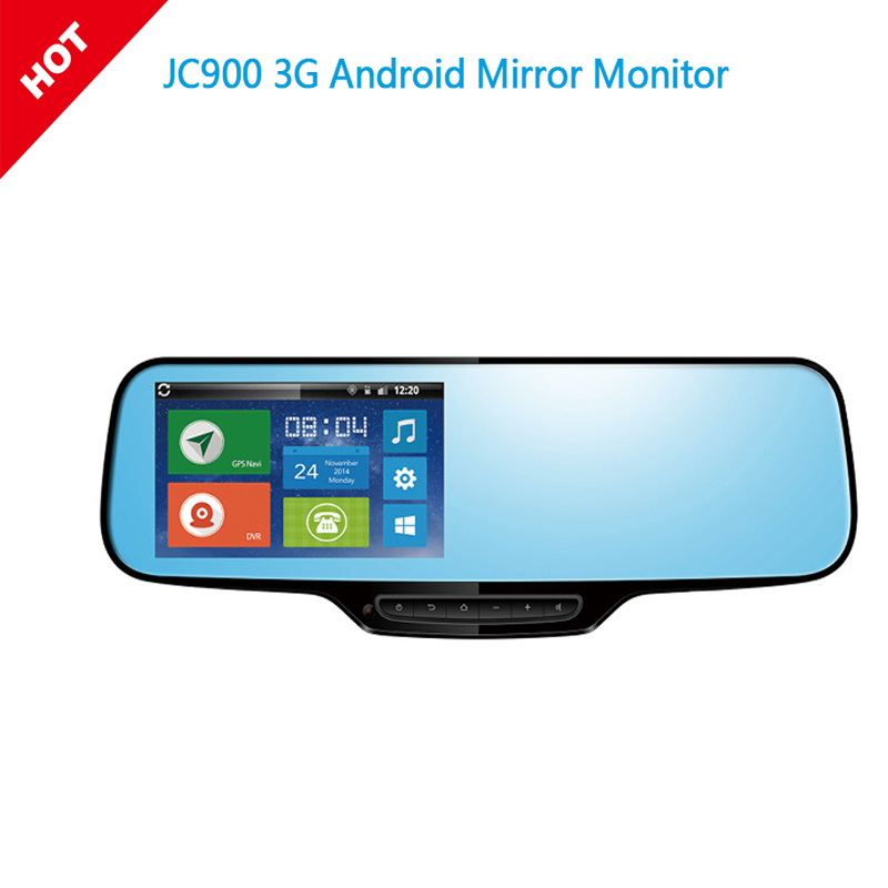 1080P 3G Android Mirror Dual Camera Strap Version with WCDMA Tri-Band for Worldwide Google Map Navigation & Parking Video Alarm jc600 1080p 3g android mirror camera bracket version with wcdma dual band for europe